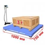 Весы «ВСП4-А» платформенные до 3000 кг платформа 1000х750 мм, стойка