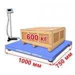 Весы «ВСП4-А» платформенные до 600 кг платформа 1000х750 мм, стойка