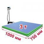 Весы с ограждением и стойкой «ВСП4-Т» платформенные 1000х750 мм 3000 кг