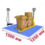 Весы «ВСП4-В» платформенные врезные со стойкой 1500х1250 мм 3000 кг